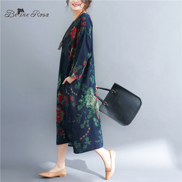 Women's Plus Size Dresses Spring Style Vintage Floral Printing Cotton Linen Big Size Female Dress 4