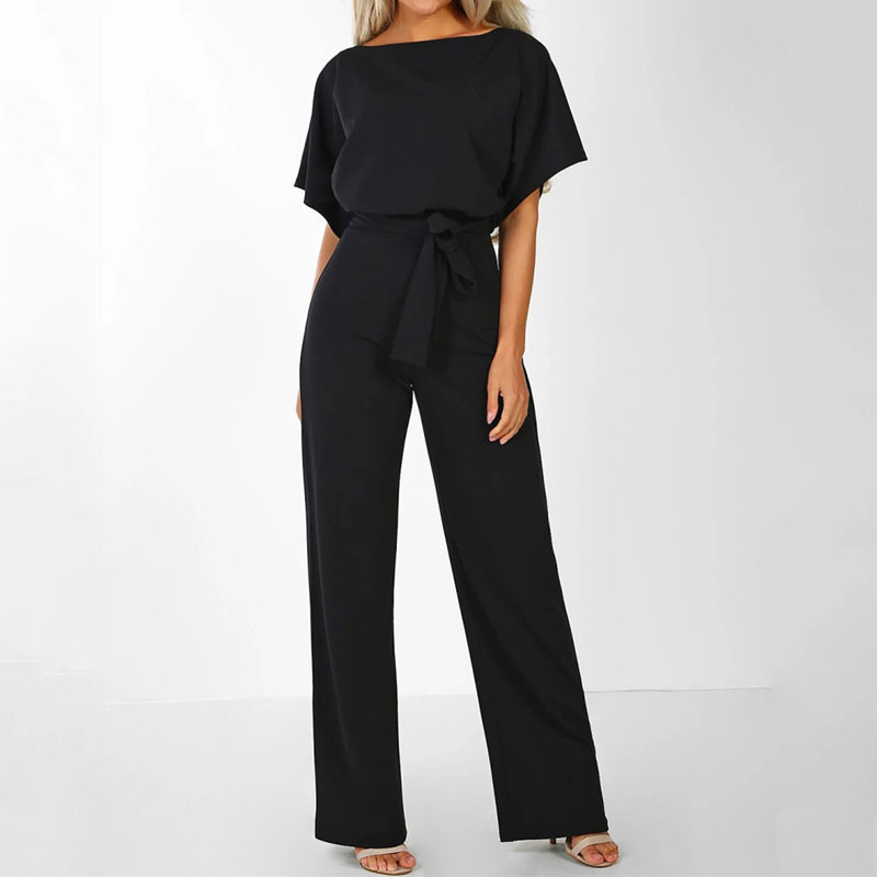 2020 Summer Jumpsuit Women Overalls Elegant Long Jumpsuit Female Lace Up Plus Size Rompers Short Sleeve Overalls For Women Black