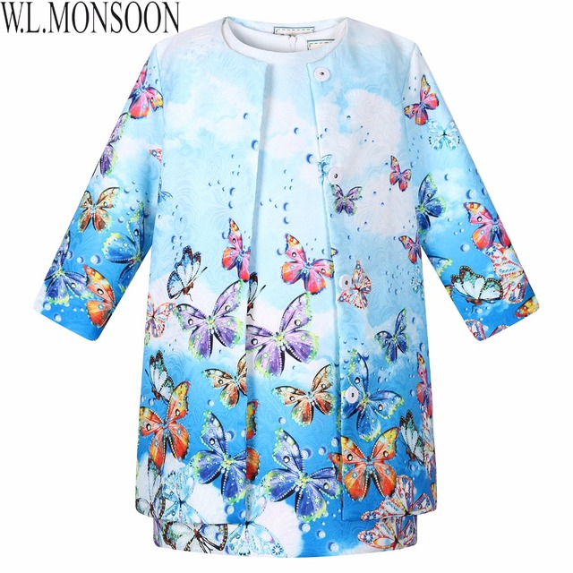 Bebé Vestido de Las Muchachas 2015 de Los Niños Ropa de Invierno Ropa de Las Muchachas Vestidos de La Mariposa Impresa Vestidos de Los Niños para Las Muchachas (Vestido + Coat)