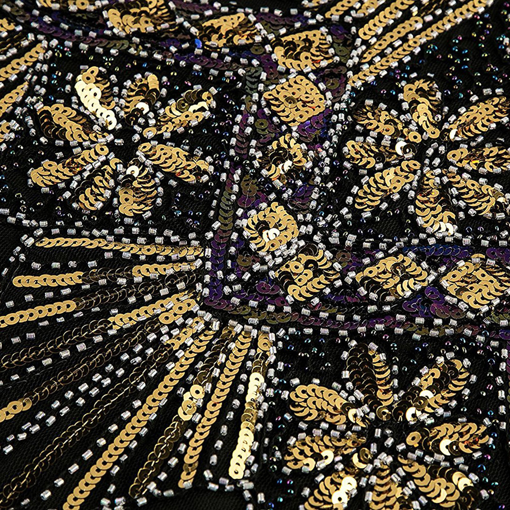 Vintage Robe Casual Sans Crayon Aileron silver Version Manches Perlé V cou Sequin Robes Dames Gland Moulante Rétro Fringe Femmes Gold Partie pEIqZ
