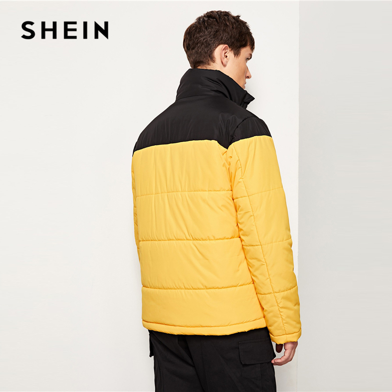 e7c566d2d7711 SHEIN Men Yellow Highstreet Casual Two Tone Zipper Quilted Long Sleeve  Colorblock Coat 2018 Winter Minimalist Mens Outerwear-in Parkas from Men s  Clothing ...