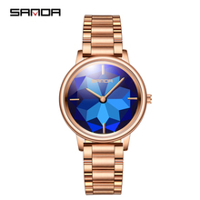 SANDA luxury rose gold Women Watches ladies casual fashion watch 2019 top brand luxury waterproof watch female clock reloj mujer mige real top brand luxury casual fashion ladies watches white leather rose gold case female clock quartz waterproof women watch