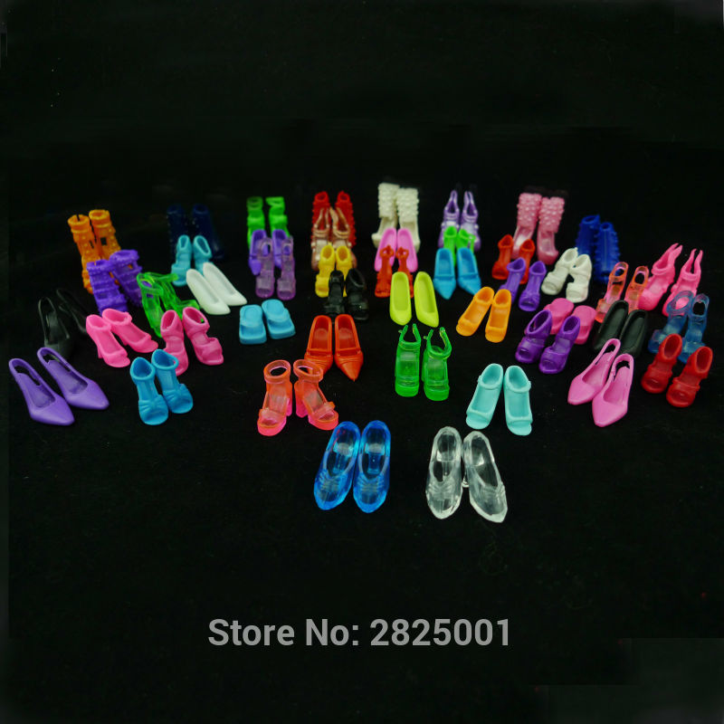 12 Pairs Doll Shoes Fashion Cute Colorful Assorted Shoes For Barbie Doll Accessories Copy Crystal Shoes High Heels Slippers Etc.