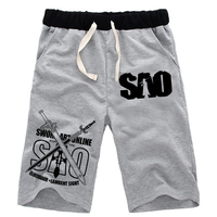 Summer Anime Sword Art Online Shorts Mens Beach Short Pants Harajuku Cosplay Knee Length Fitness Short