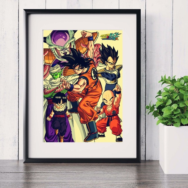 Retro dragon ball z comic canvas art print painting poster wall pictures for room home decoration