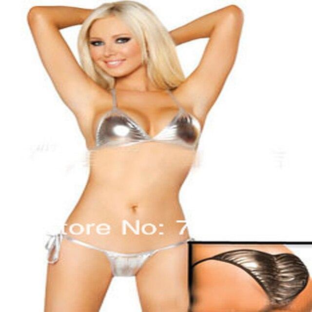NoirArgentOrBleu Faux Cuir Bikini Ensemble Mode Femmes Nouveau EI2YDH9W