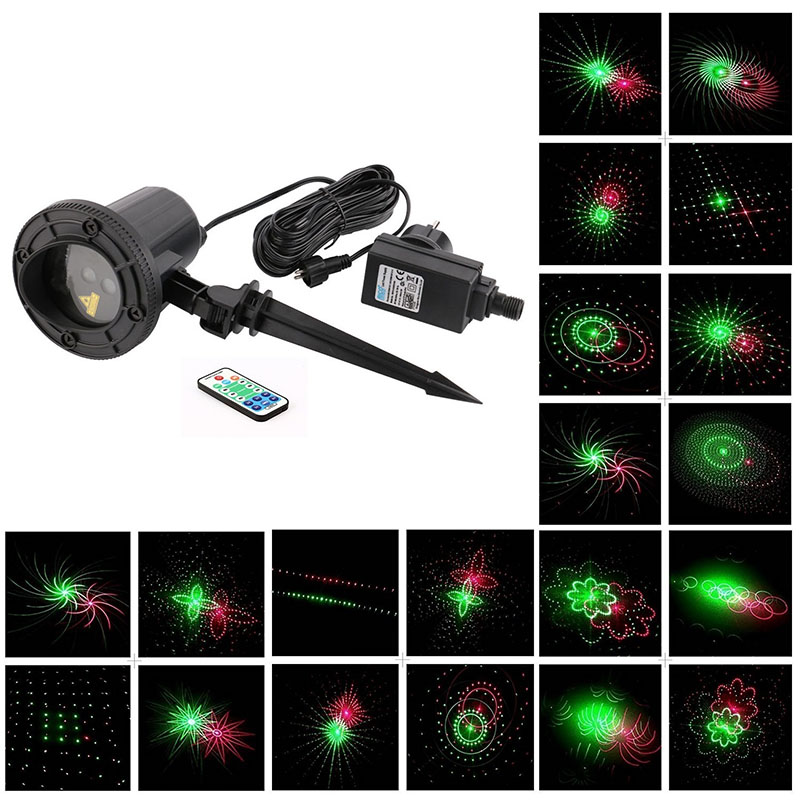 Laser Lights RG 24 Patterns Lawn Outdoor Garden Decoration Waterproof IR Remote IP65 Star Laser Projector for Christmas Garden