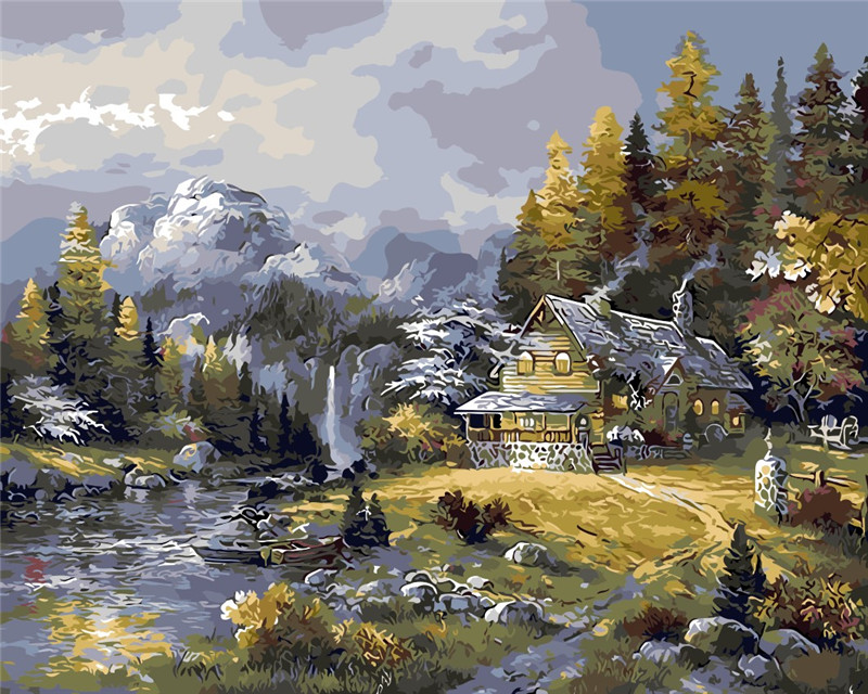 In Winter Jungle Cabin The Paintings No Frame Home Decoration Oil Painting Pictures Coloring By Numbers Seascape Wall Art Decor Calligraphy