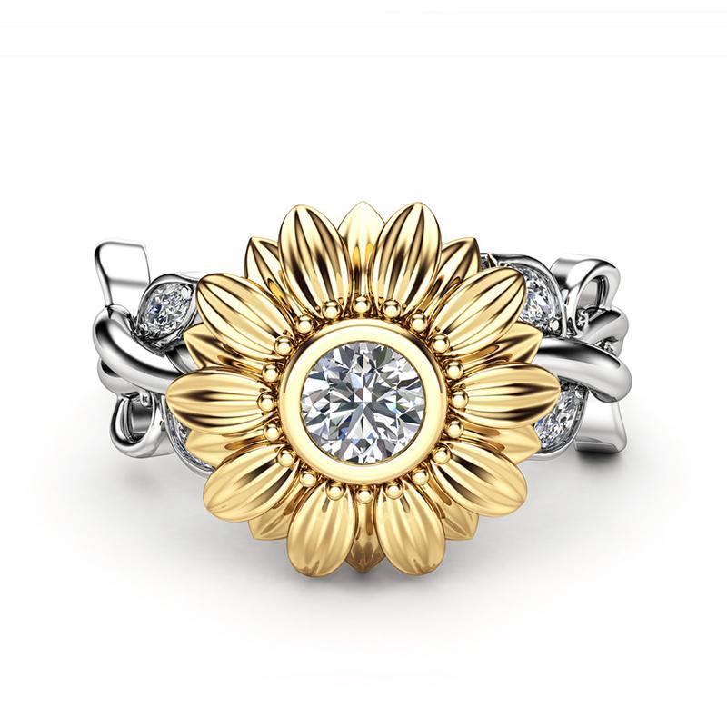 NEW femme silver beautiful sunflower crystal wedding rings ...