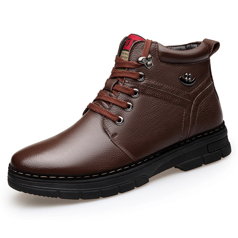 Brand Genuine Leather <font><b>Men</b></font> <font><b>Shoes</b></font> Autumn <font><b>Winter</b></font> <font><b>Men</b></font> Boots Fashion Vintage Style Male Motorcycle <font><b>Shoes</b></font> High-Cut <font><b>Men</b></font> Casual <font><b>Shoes</b></font> image