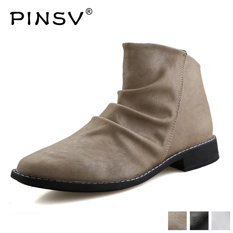 Classic Ankle Boots Men Pointed Toe High Top Men Boots PU Zip Casual Shoes for Male PINSVClassic Ankle Boots Men Pointed Toe High Top Men Boots PU Zip Casual Shoes for Male PINSV
