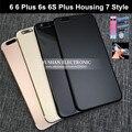 Para iphone 7 estilo 6 más estilo cubierta trasera de vivienda 7 for iphone 6 6 s 4.7 5.5 vivienda marco medio mate de oro con negro IMEI