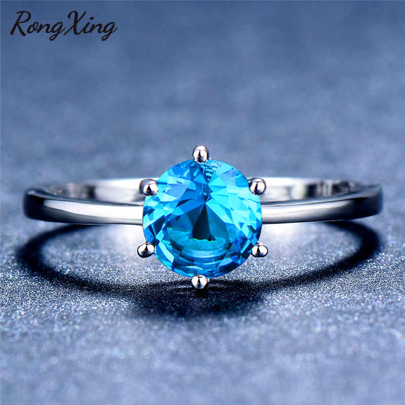 Rongxing seis garra redonda birthstone anéis de noivado para mulher 925 prata esterlina preenchido rosa/verde/azul zircão anel simples presente
