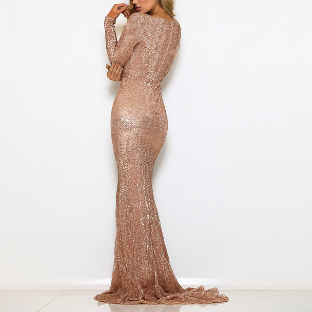 Stretchy Sequined Evening Party Dress Floor Length Maxi Dress Dress Back Zipper Maxi Dress Champagne Gold Navy 1