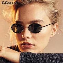 Роскошные солнцезащитные очки в овальной оправе с бриллиантами для мужчин и женщин, модные очки UV400 в винтажном стиле 46127