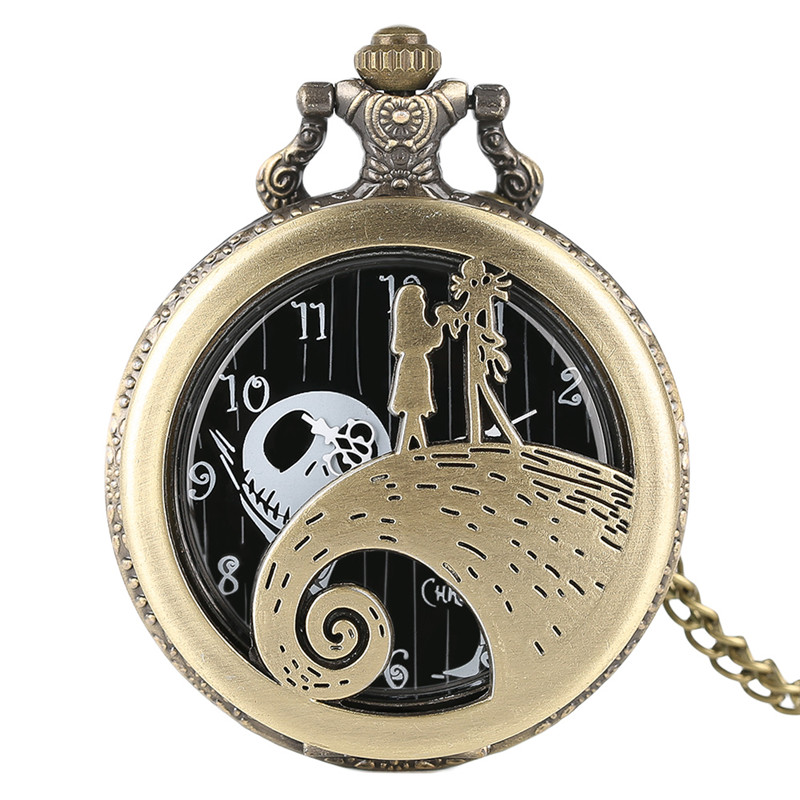 High Quaity Fashion Gold The Nightmare Before Christmas Theme Pocket Watch Hollow Case GifT For Children Reloj Jack Skellington