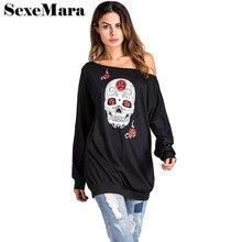 Skull print off shoulder long sleeve hoodies halloween costumes for women tops 2017 autumn plus size sweatshirt L-3XL D35-AZ47
