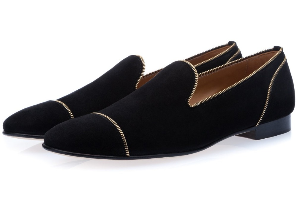 Mens Velvet Black Loafers Round Toe Zipper Bordered Formal Shoes Mens Wedding ShoesMens Velvet Black Loafers Round Toe Zipper Bordered Formal Shoes Mens Wedding Shoes