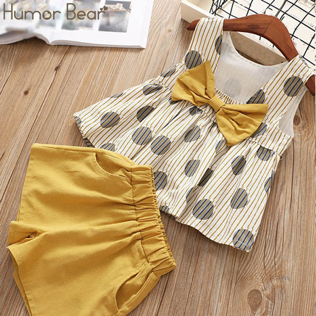 Humor Bear Baby Girls Clothes Sets 2019 Summer Dot flying sleeve top+strap dress+Headband 3-piece kids Children's Clothing Suit 3