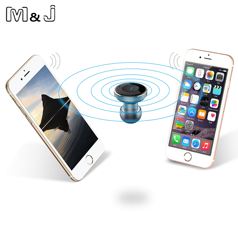 M&J Mini Stereo Car Bluetooth Headset Wireless Earphone Bluetooth Handsfree Car Kit Headphone With 2 USB Base Charging Dock remax 2 in1 mini bluetooth 4 0 headphones usb car charger dock wireless car headset bluetooth earphone for iphone 7 6s android