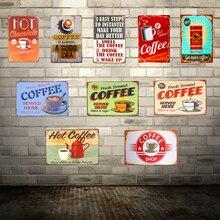 Carteles de hojalata vintage café decorativo para el hogar café menú tienda Pub Bar decoración de la pared del hogar Placa de café