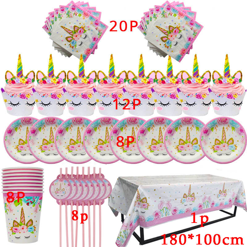 Unicorn Party Supplies Tableware Set Unicorn Tablecloth Paper Cups Napkin Banner Cake Topper Wedding Baby Shower Decorations in Disposable Party Tableware from Home Garden