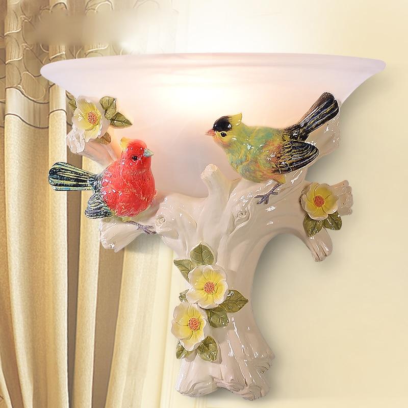 ФОТО Modern 31cm Resin Bird Wall Lamps for livingroom bathroom as Decoration Sconce Light AC90-260V lamparas de pared 2 Colors