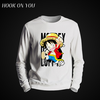 2017 Hot Anime One Piece Men O-Neck Hoodie Comfortable Sweatshirt Monkey D Luffy Printed Clothes Cool Casual Round Collar Fleece