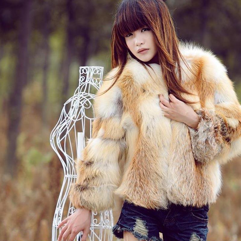 2018 nový příjezd liška kožich podzimní zima hustší teplý dlouhý rukáv korejský styl Dámské zimní bundy Přírodní skutečný kožich