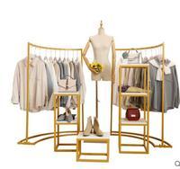 Clothing store floor display rack. hanging rack combination women's clothing store rack clothes display rack gold
