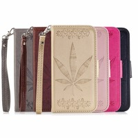 Luxury pure color maple leaf case pattern PU leather case Flip card slot case for Samsung galaxy S8 S8Plus phone cases