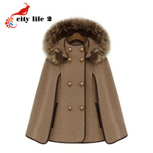Fashion Cloak Women's Coats Street  With A Hood Woolen Overcoat Outerwear Disassemblability Capes And Ponchos Fur Collar Casacos