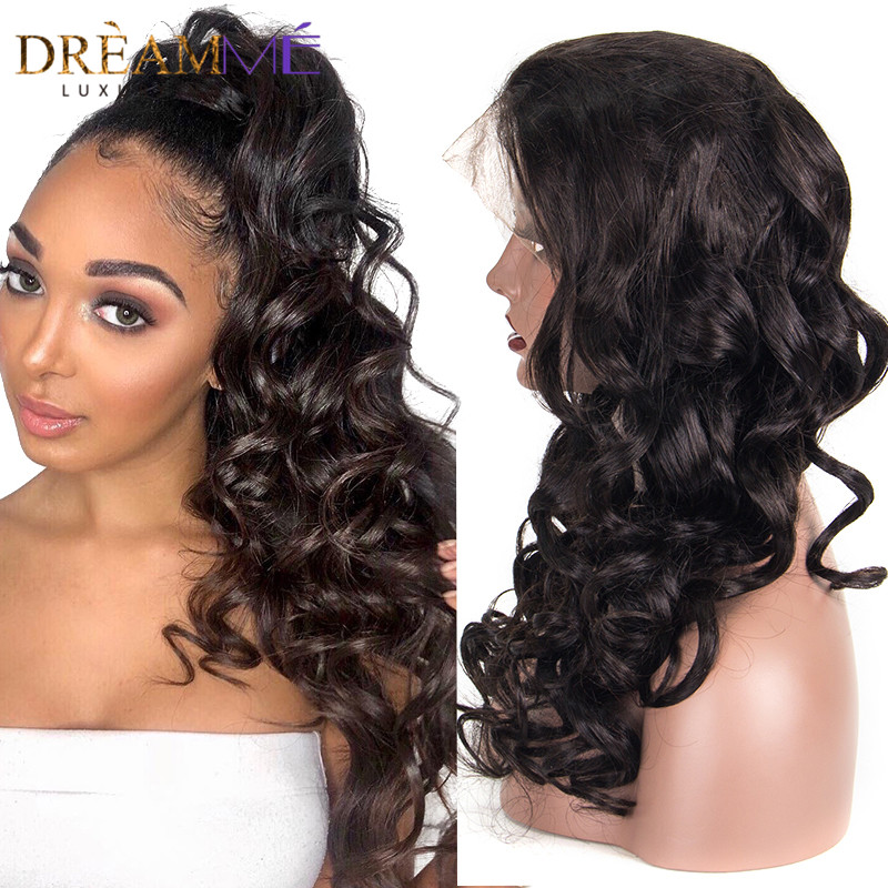 Brazilian Loose Wave Human Hair Wigs For Black Woman 130% Glueless Pre Plucked Full Lace Wigs With Baby Hair Remy Dream Me