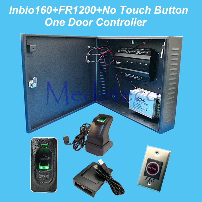 ZK inbio160 access control panel fingerprint & RFID door access control system+12V5A battery function power+FR1200+No Touch exit biometric fingerprint access controller tcp ip fingerprint door access control reader