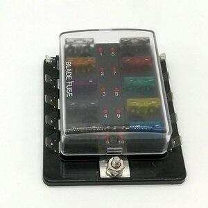 Image 1 - 10 Way Circuit Blade Fuse Box Block Holder Met LED Waarschuwing Licht Kit Voor Auto Van Boot Marine Auto Zekering houder