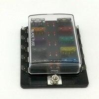 10 Way Circuit Blade Fuse Box Block Holder Met LED Waarschuwingslampje Kit Voor Auto Van Boot Marine Auto Zekering houder