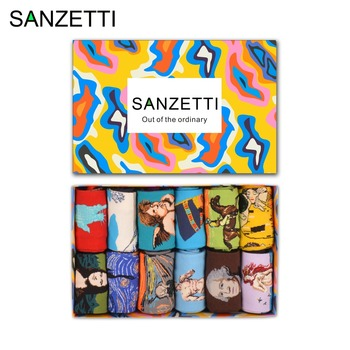 SANZETTI  12 pairs/lot Gift Box Colorful Men's Novelty Combed Cotton Socks Retro Oil Panting Mona Lisa Angel Casual Funny Socks