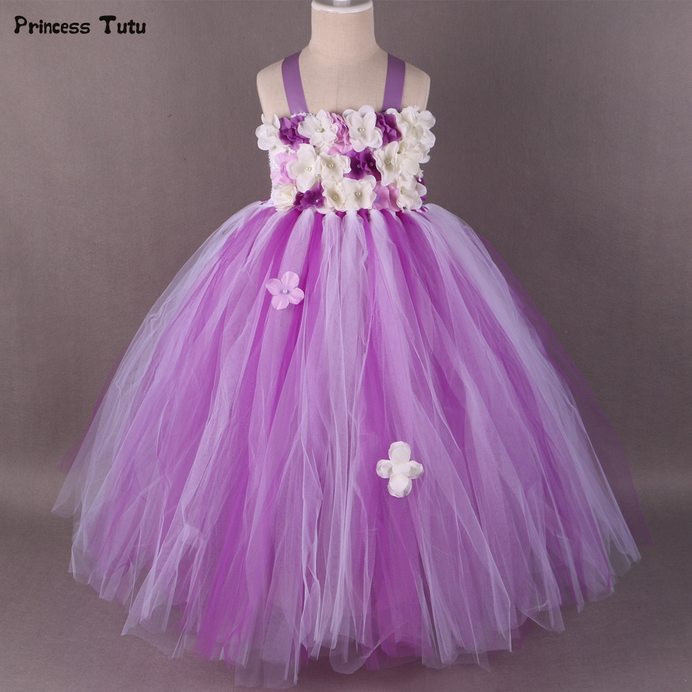 Children Girls Flower Girl Dress Purple White Princess Girl Party Tutu Dress Tulle Kids Girls Pageant Wedding Ball Gown Dress cute girls purple long tutus dress kids handmade fluffy tulle princess dress with flower satin bow children party tutus 1pcs