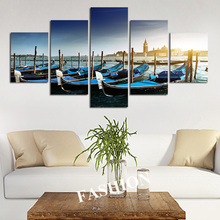 Wall Art No Frame Venice Tugboat Modular Picture Sunset Sea Oil Painting Canvas Framework Boat Art On Wall Quadro Mural Cuadro