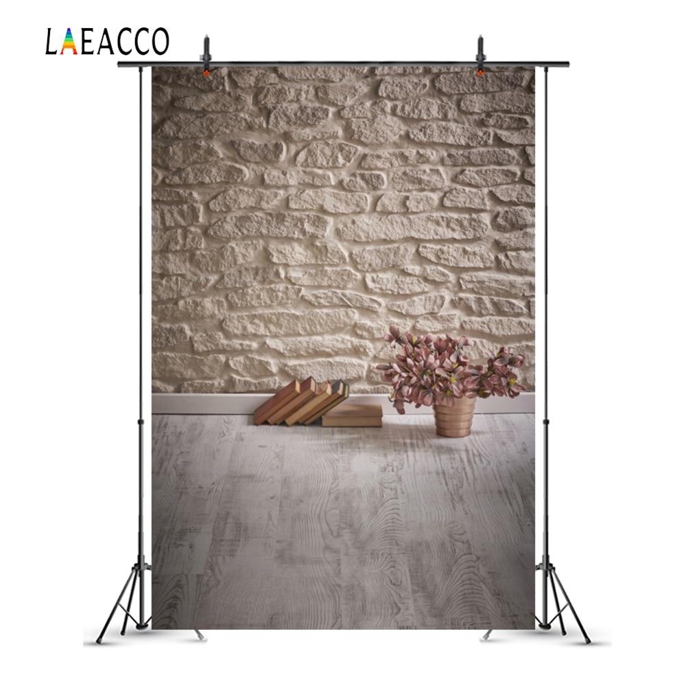 Laeacco Art Flowers Books Stenen muur Houten vloeren Fotografie - Camera en foto