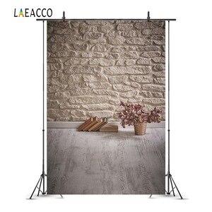 Image 2 - Laeacco Vintage muro di mattoni pavimento in legno libri fiori Grunge ritratto di bambino fondali fotografia sfondi fotografici photzone