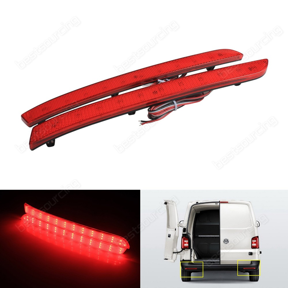 Red Lens LED Rear Bumper Reflector Tail Stop Brake Light For VW T5 Transporter (Fits: VW 2012) (CA330)