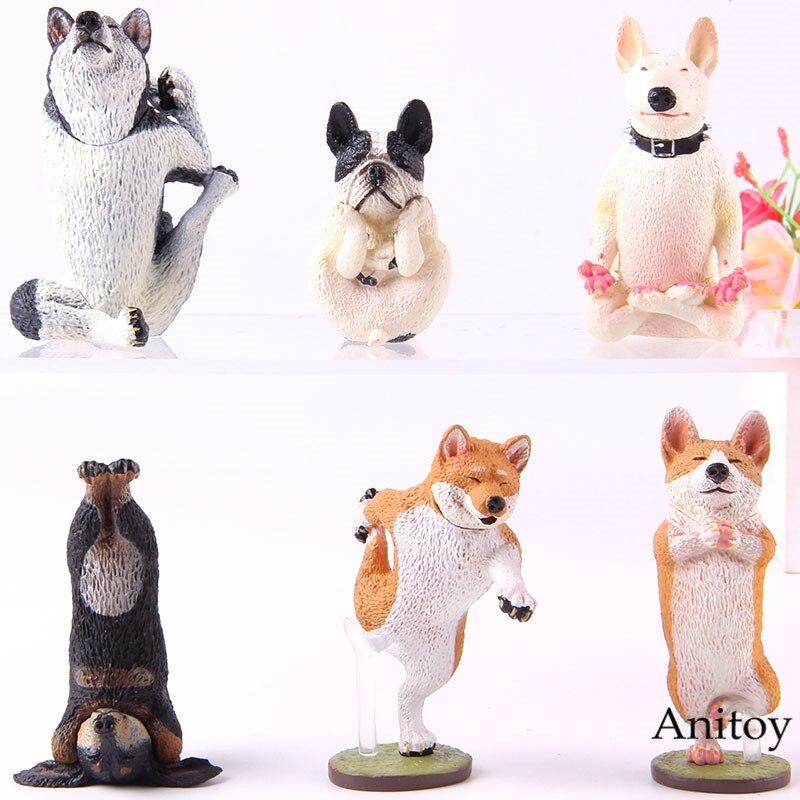 <+>  Animal Life Коллекция Модель Игрушка Хаски Танцующая Собака Йога Собака Корги Пемброк ПВХ Фигурку 6  ①