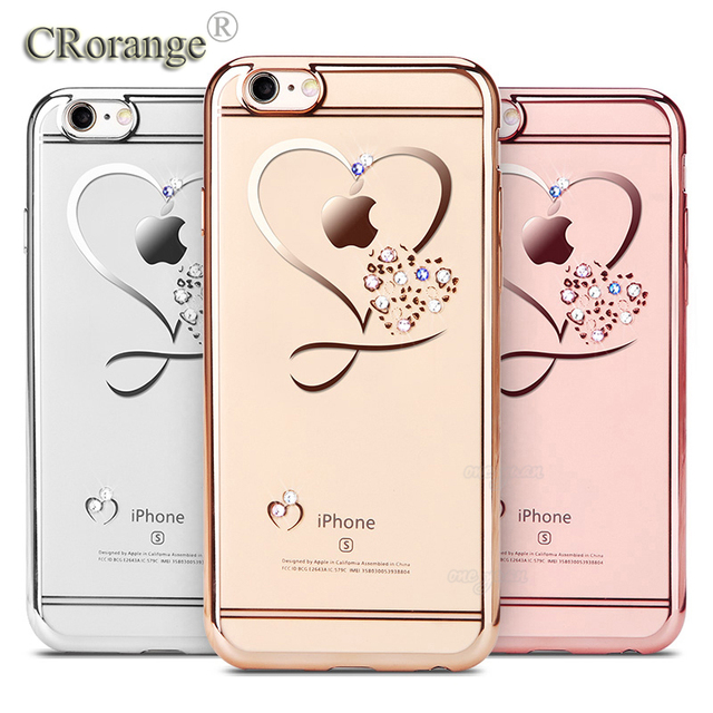 Us 1 49 For Iphone 6 Plus Case Ultra Thin Clean Soft Tpu Crystal Phone Cases Rose Gold Plating Glitter Diamond Cover For Iphone 6 6splus In