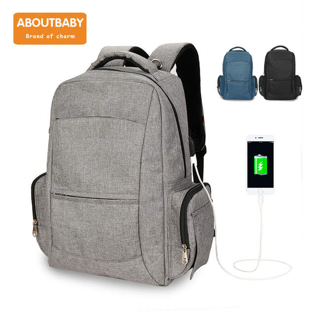 Us 27 88 19 Off Diaper Bag Pure Color Men S Mummy Baby Care Ny Large Capacity Waterproof Business Backpack Travel With Usb Charging In