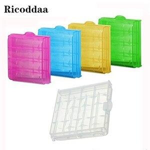 100 шт./лот, цветной пластиковый футляр для аккумулятора, коробка для хранения 10440 14500 AA/AAA, коробка для аккумулятора, контейнер, сумка, органайз...