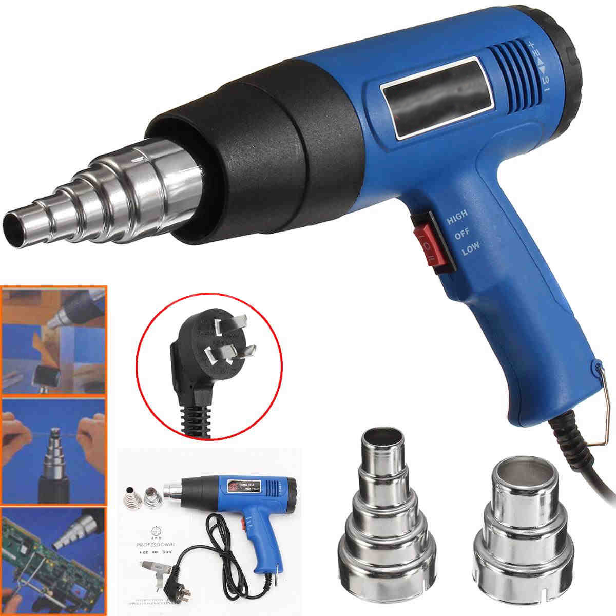 OSSIEAO New Hot Air Heat Blower 1800W 600 Degrees Celsius Paint Drying Striping Tool & 2 Nozzles Blue