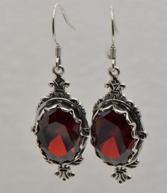 Restaurar antigas formas de design de moda de luxo 925 sterling silver estilo Europeu garnet brincos mulheres presente