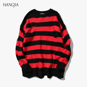 Black Red Striped Hole Knit Sweaters Autumn Winter Sweater F