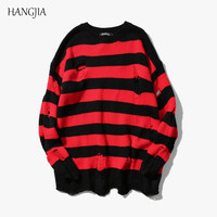 Black Red Striped Hole Knit Sweaters Autumn Winter Sweater Fashion Long Paragraph Oversized Jumpers Men Women All match Clothing